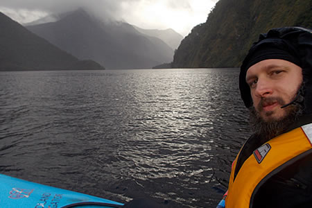 Justin Sytsma, Kayaking on Doubtful Sound, New Zealand.