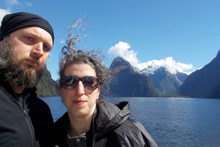 Justin Sytsma and Erika McClintock, Milford Sound, New Zealand.